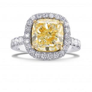 Fancy Light Yellow Cushion Halo Diamond Ring, SKU 393246 (5.23Ct TW)