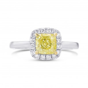 Fancy Intense Yellow Cushion Halo Diamond Ring, ARTIKELNUMMER 397245 (1,40 Karat TW)