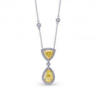 Fancy Light Yellow Pear and Triangle Drop Halo Diamond Pendant., ARTIKELNUMMER 398306 (4,12 Karat TW)