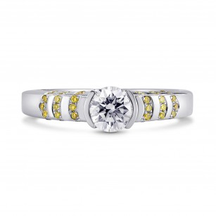 Half-Bezel Solitaire & Fancy Intense Yellow Pave Ring Setting, SKU 40037S