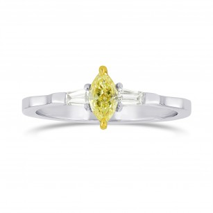 Fancy Intense Yellow Marquise and Taper Diamond Accent Ring, SKU 40277
