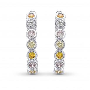 Multicolor Diamond Hoop Drop Earrings, SKU 408544 (0.77Ct TW)