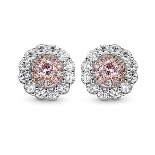 Fancy intense pink and white diamond flower stud earrings mounted in white and rose gold., SKU 409482 (0.51Ct TW)