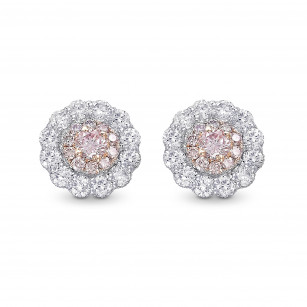 Fancy Light Pink Round Double Halo Diamond Stud Earrings, SKU 409483 (0.62Ct TW)