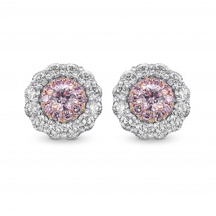 Fancy Pink & White Diamond Pave Flower Earrings, SKU 409484 (0.54Ct TW)