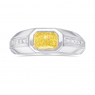 Fancy Yellow Radiant Diamond Men's Ring, SKU 416543 (1.78Ct TW)