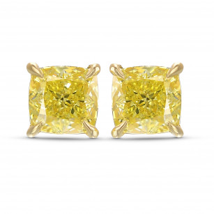 Fancy Intense Yellow Cushion Stud Earrings, SKU 416631 (2.05Ct TW)