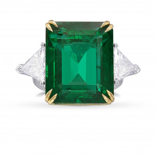 Vivid Green Octagon Emerald and Diamond 3 Stone Ring, SKU 422306 (22.48Ct TW)