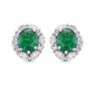 Extraordinary Oval Emerald and Diamond Halo Earrings, SKU 424350 (3.19Ct TW)