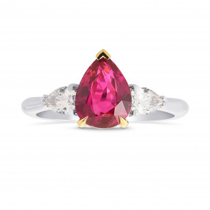 Pear Shape Ruby and Diamond 3 Stone Ring, SKU 428209 (2.39Ct TW)