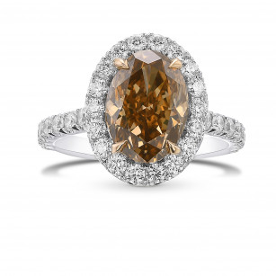 Fancy Orange Brown Oval Halo Diamond Ring, ARTIKELNUMMER 431587 (3,93 Karat TW)