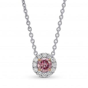 Fancy Intense Purplish Pink Round Diamond Halo Pendant., SKU 431589 (0.36Ct TW)