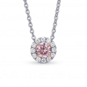 Fancy Intense Purplish Pink Round Diamond Halo Pendant, SKU 431590 (0.38Ct TW)