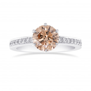 Fancy Brown  Round  Diamond Side Stone  Ring, ARTIKELNUMMER 44086 (1,40 Karat TW)