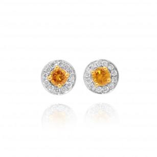 Fancy Vivid Orangy Yellow & White Millgrain Pave Diamond Earrings set in 18KGold, SKU 47280 (0.33Ct TW)