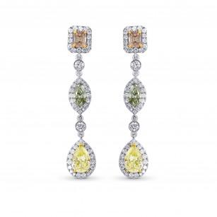 Pink, Green and Yellow Diamond drop earrings., SKU 49977 (4.92Ct TW)
