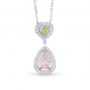 Very Light Pink Pear and Fancy Yellowish Green Heart Diamond Halo Drop Pendant, SKU 56374 (0.91Ct TW)