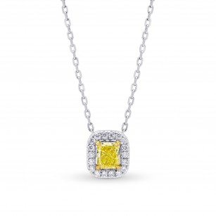 Fancy Yellow Cushion & White Pave Diamond Halo Pendant, SKU 59240 (0.40Ct TW)