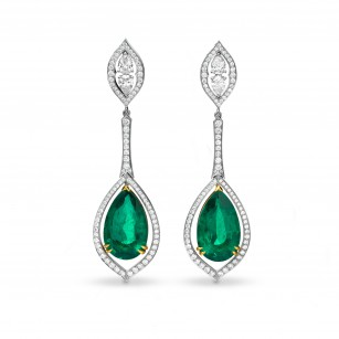 Extraordinary Green Emerald Pear & Diamond Drop Earrings, SKU 63811 (30.44Ct TW)