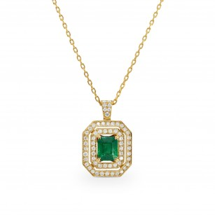 Emerald and Diamond Yellow Gold Pendant, SKU 64699 (1.04Ct TW)