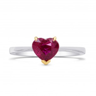 Unheated Vivid Red Ruby Heart Solitaire Ring, SKU 68828