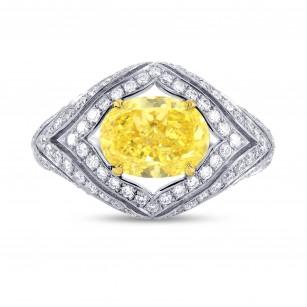 Fancy Intense Yellow Oval Diamond Ring, SKU 68838 (3.23Ct TW)