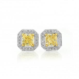 Light Yellow Radiant diamond halo earrings, SKU 70396 (1.58Ct TW)