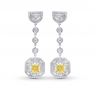 Fancy Light Yellow Radiant and Half-moon drop couture earrings, SKU 70574 (3.67Ct TW)
