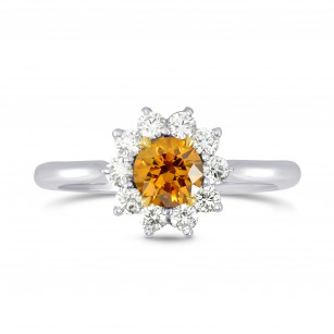 Fancy Deep Brownish Yellowish Orange Round Brilliant Diamond Ring, SKU 71655 (0.87Ct TW)