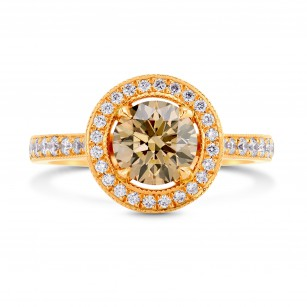 Fancy Yellowish Brown Diamond Halo Engagement Ring, SKU 71749 (1.61Ct TW)