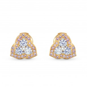 Fancy Pink and white diamond pave set earrings, SKU 71819 (0.63Ct TW)