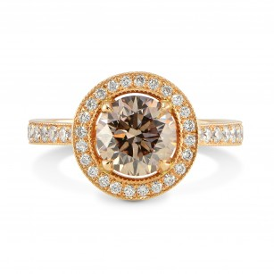 Fancy Dark Pinkish Brown Diamond Halo Engagement Ring, SKU 72141 (1.74Ct TW)