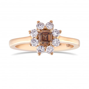 Fancy Dark Orange Brown Emerald and White Brilliant Diamond Dress Ring, SKU 72167 (0.63Ct TW)