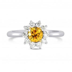 Fancy Vivid Orange Yellow Round Brilliant Diamond Ring, SKU 72412 (0.89Ct TW)