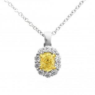 Light Yellow Oval Diamond Halo Pendant, SKU 73057 (0.82Ct TW)