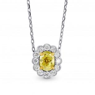 A Fancy Yellow diamond scallop halo pendant, SKU 73059 (0.76Ct TW)