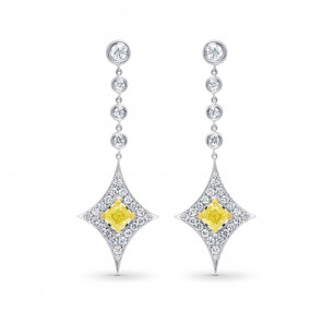 Fancy Light Yellow Diamond Drop Earrings, SKU 73132 (3.36Ct TW)