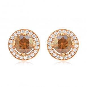 Fancy Brown Round Diamond Earrings, SKU 75644 (1.55Ct TW)