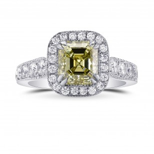 Fancy Grayish Greenish Yellow Emerald Shape Diamond Halo Ring, SKU 76912 (2.79Ct TW)