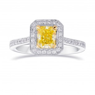 Fancy Intense Yellow Diamond Milgrain Halo Ring, ARTIKELNUMMER 77658 (1,18 Karat TW)