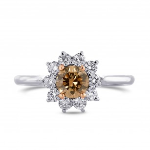 Fancy Brown Round Diamond Basket Halo Ring, SKU 80463 (0.87Ct TW)