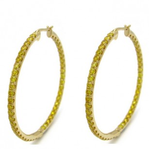 Vivid Orangy Yellow Fancy Color Diamond Hoop Earrings set with 3.30cts diamonds, SKU 81865 (3.30Ct TW)