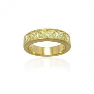 18K. Yellow Gold Diamond Band set with Radiant Cut Fancy Yellow Diamonds 1.92cts, SKU 81878 (1.92Ct TW)
