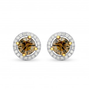 Fancy Brown Round Brilliant Diamond Halo Earrings, SKU 82359 (1.48Ct TW)