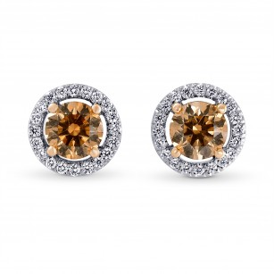 Fancy Brown Halo Stud Diamond Earrings, SKU 82361 (1.49Ct TW)