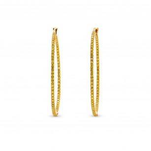 Fancy Vivid Yellow Diamond Pave Hoop Earrings weight 1.24ct set in 18K Gold, SKU 82961 (1.24Ct TW)