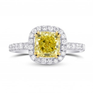 Fancy Vivid Yellow Cushion Diamond and Pave Engagement Ring, SKU 86057 (2.84Ct TW)