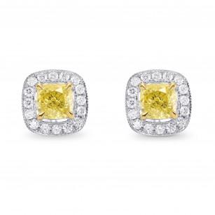Fancy Intense Yellow Cushion Diamond Drop Earrings, SKU 92247 (1.63Ct TW)