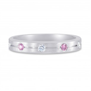 White Gold Band Ring Set with Pink and White Diamonds, SKU 96489 (0.14Ct TW)