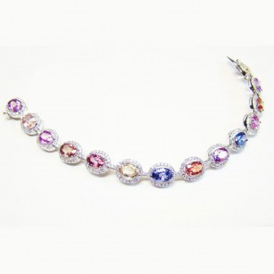 Oval Sapphire & Diamond Multicolored Bracelet weighing 16.02ct set in 18K gold., SKU SL-11 (16.02Ct TW)